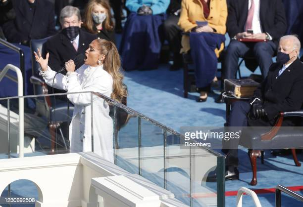Singer Jennifer Lopez performs during the 59th presidential inauguration in Washington, D.C., U.S., on Wednesday, Jan. 20, 2021. Biden will propose a...