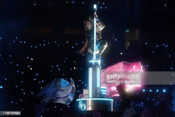 US singer Jennifer Lopez performs during the halftime show of Super Bowl LIV between the Kansas City Chiefs and the San Francisco 49ers at Hard Rock...
