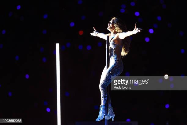 Singer Jennifer Lopez performs during the Pepsi Super Bowl LIV Halftime Show at Hard Rock Stadium on February 02 2020 in Miami Florida