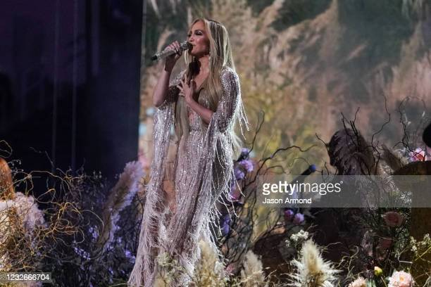 Singer Jennifer Lopez performs during the Vax Live concert at SoFi Stadium on Sunday, May 2, 2021 in Inglewood, CA. The charity concert is aimed at...