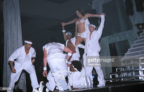 Singer Jennifer Lopez performs during the White Party March 31 2002 in Palm Springs CA