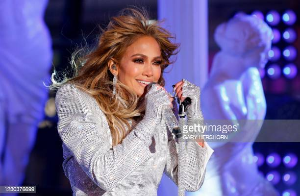 Singer Jennifer Lopez performs in Times Square during New Year's Eve celebrations on December 31, 2020 in New York City.