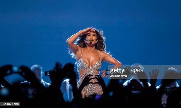 US singer Jennifer Lopez performs live during a concert at the O2 World on October 13 2012 in Berlin Germany