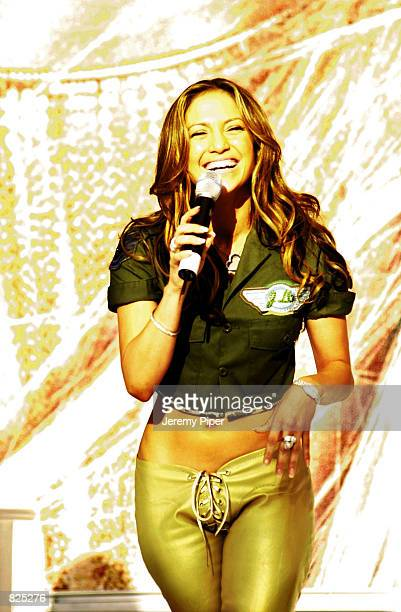 Singer Jennifer Lopez performs on stage February 22 2001 in Sydney Australia