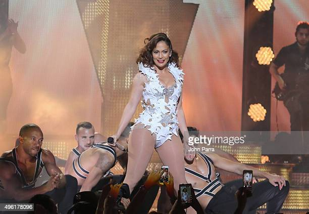 Singer Jennifer Lopez performs onstage at iHeartRadio Fiesta Latina presented by Sprint at American Airlines Arena on November 7 2015 in Miami Florida