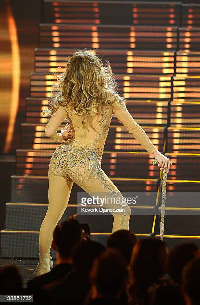 Singer Jennifer Lopez performs onstage at the 2011 American Music Awards held at Nokia Theatre LA LIVE on November 20 2011 in Los Angeles California