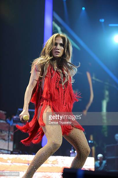 Singer Jennifer Lopez performs onstage at the iHeartRadio Music Festival held at the MGM Grand Garden Arena on September 24 2011 in Las Vegas Nevada
