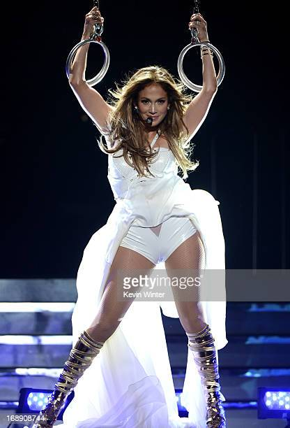Singer Jennifer Lopez performs onstage during Fox's 'American Idol 2013' Finale Results Show at Nokia Theatre LA Live on May 16 2013 in Los Angeles...