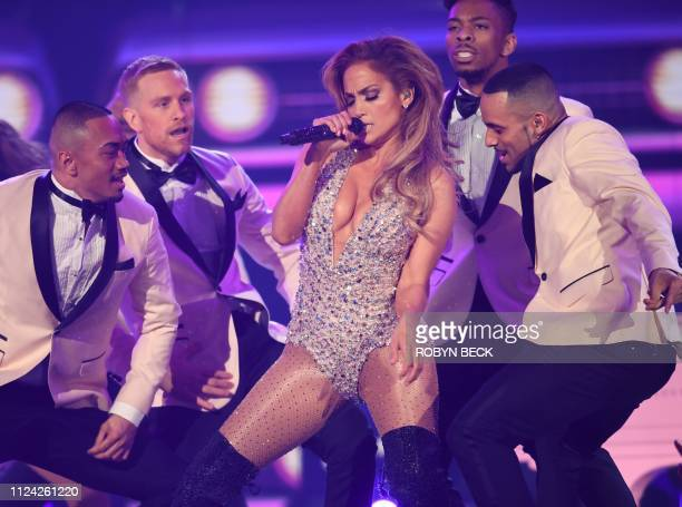 US singer Jennifer Lopez performs onstage during the 61st Annual Grammy Awards on February 10 in Los Angeles