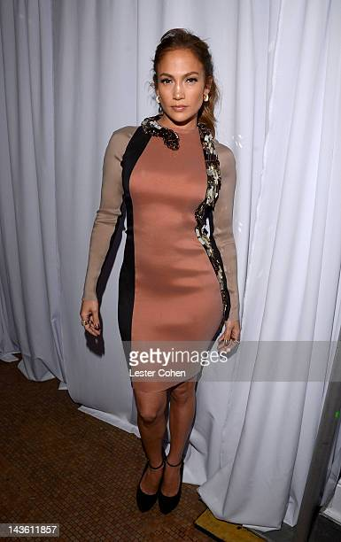 Singer Jennifer Lopez poses backstage at a press conference at Boulevard3 on April 30 2012 in Hollywood California