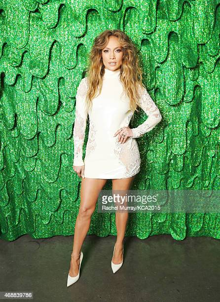 Singer Jennifer Lopez poses backstage at Nickelodeon's 28th Annual Kids' Choice Awards at The Forum on March 28 2015 in Inglewood California
