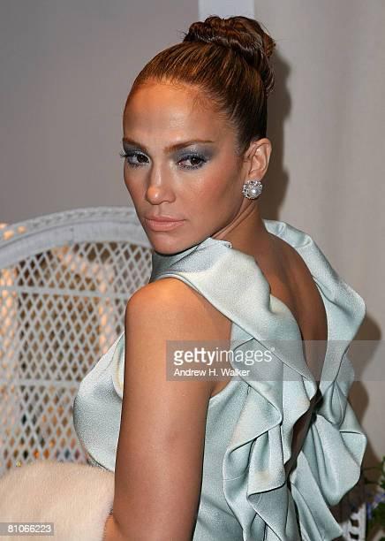 Singer Jennifer Lopez poses backstage at the Christian Dior Cruise 2009 Collection at Gustavino's in New York City