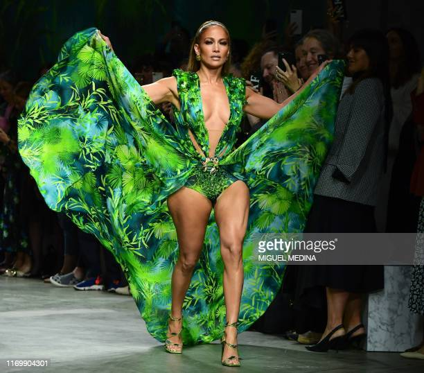 Singer Jennifer Lopez presents a creation for Versace's Women's Spring Summer 2020 collection in Milan on September 20, 2019.