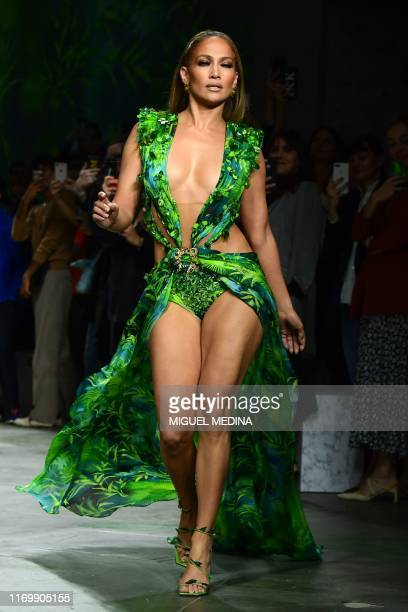 US singer Jennifer Lopez presents a creation for Versace's Women's Spring Summer 2020 collection in Milan on September 20 2019