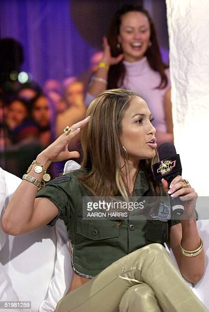 Singer Jennifer Lopez speaks during an interview at MuchMusic to promote her new album JLo 13 February 2001 in Toronto Canada Lopez is girlfriend to...