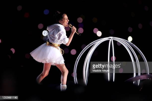 Singer Jennifer Lopez's daughter Emme Maribel Muñiz performs during the Pepsi Super Bowl LIV Halftime Show at Hard Rock Stadium on February 02 2020...
