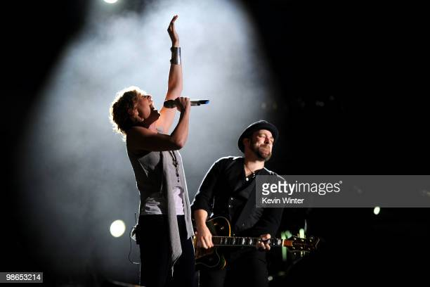 Singer Jennifer Nettles and musician Kristian Bush of Sugarland perform onstage during day 1 of Stagecoach: California's Country Music Festival 2010...