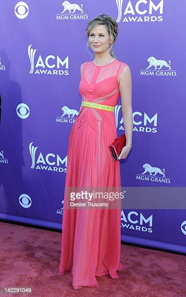 Singer Jennifer Nettles arrives at the 47th Annual Academy Of Country Music Awards held at the MGM Grand Garden Arena on April 1 2012 in Las Vegas...