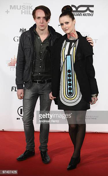 Singer Jennifer Weist and Johannes 'Joe' Walter of Jennifer Rostock attend the 'Musik Hilft' charity dinner at Grill Royal on March 3 2010 in Berlin...