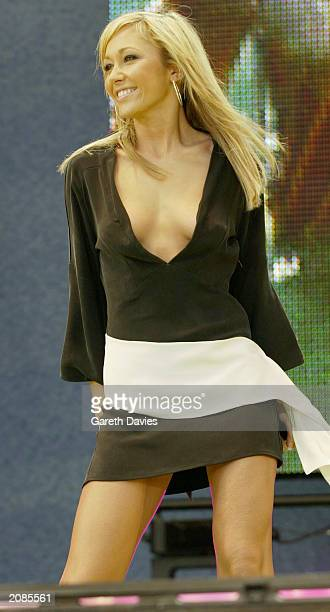 Singer Jenny Frost from the British pop group Atomic Kitten performs on stage at the 958 Capital FM Party in the Park held at Hyde Park in London on...