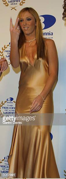 Singer Jenny Frost of Atomic Kitten in the pressroom of London Weekend Television on December 8 2002 Atomic Kitten were nominated for Record of The...