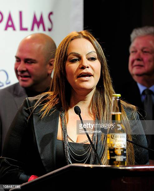 Singer Jenny Rivera speaks during a press conference at The Palms Casino Resort on January 28 2011 in Las Vegas Nevada