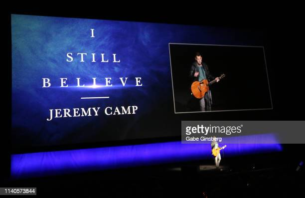 """Singer Jeremy Camp performs a song from the movie """"I Still Believe"""" during Lionsgate presentation during CinemaCon at The Colosseum at Caesars Palace..."""