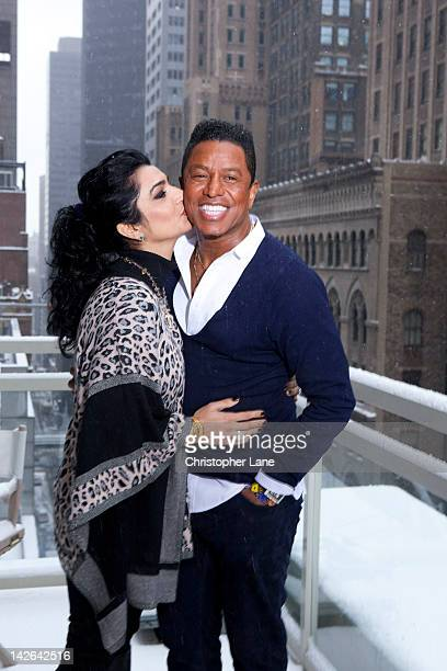 Singer Jermaine Jackson and wife Halima Rashid pose for Paris Match on January 12 2012 in New York City