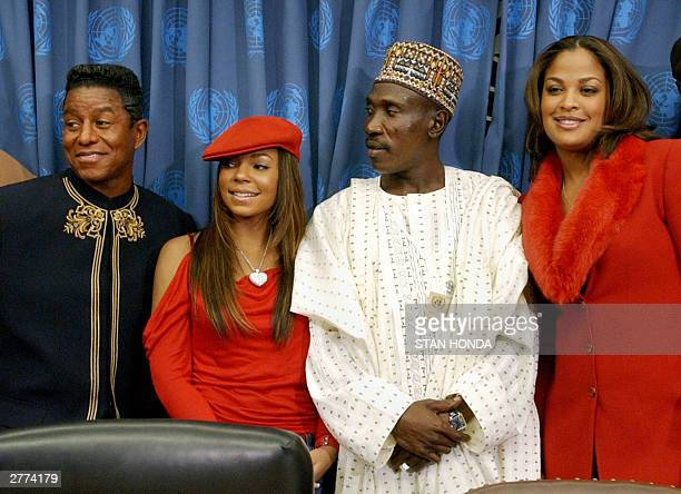 US singer Jermaine Jackson brother of entertainer Michael Jackson US singer Ashanti Abdulrazaq Garba special assistant to the wife of the Nigerian...