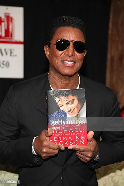 Singer Jermaine Jackson of The Jackson 5 promotes the new book You Are Not Alone Michael Through A Brother's Eyes at Bookends Bookstore on September...