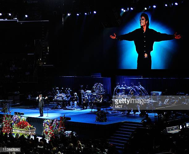 Singer Jermaine Jackson performs at Michael Jackson's public memorial service held at the Staples Center in Los Angeles California Tuesday July 7 2009