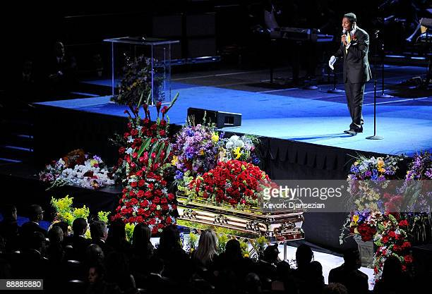 Singer Jermaine Jackson performs at the Michael Jackson public memorial service held at Staples Center on July 7 2009 in Los Angeles California...