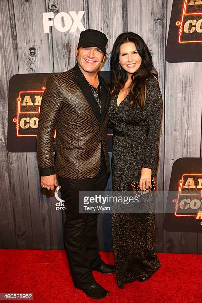 Singer Jerrod Niemann and Morgan Petek attend the 2014 American Country Countdown Awards at Music City Center on December 15 2014 in Nashville...