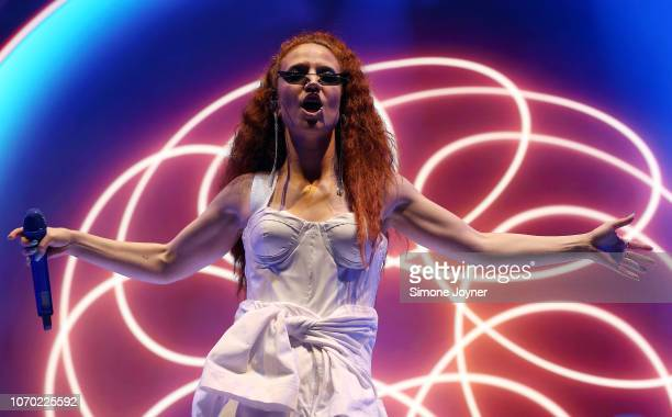 Singer Jess Glynne performs live on stage at The O2 Arena on November 20 2018 in London England