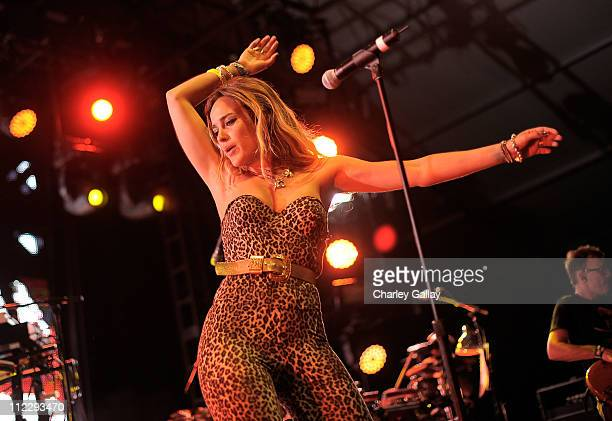 Singer Jess Mills of Leftfield performs during Day 3 of the Coachella Valley Music Arts Festival 2011 held at the Empire Polo Club on April 17 2011...