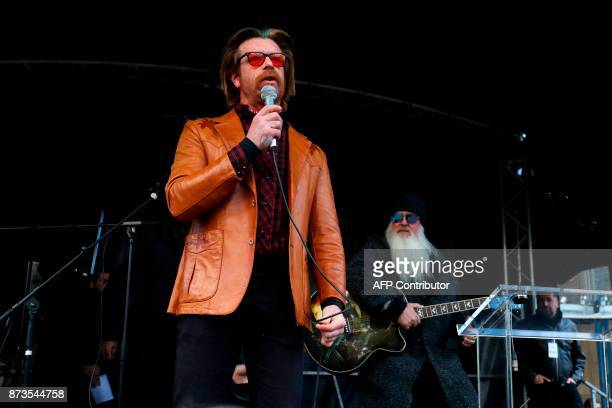 Singer Jesse Hughes and guitarist Dave Catching of Eagles of Death Metal the band who played at the Bataclan music hall in Paris when jihadist gunmen...