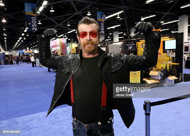 Singer Jesse Hughes poses for a picture during day 3 of the 2016 NAMM Show at the Anaheim Convention Center on January 23 2016 in Anaheim California