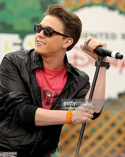 Singer Jesse McCartney on stage at the 21st A Time For Heroes Celebrity Picnic sponsored by Disney to benefit the Elizabeth Glaser Pediatric Aids...