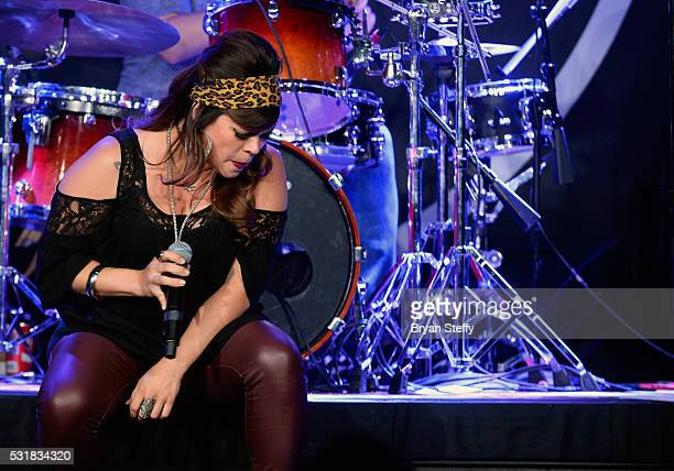 Singer Jessenia Paz performs during Mondays Dark benefiting the Through the Eyes of a Child Foundation at Vinyl inside The Hard Rock Hotel Casino on...