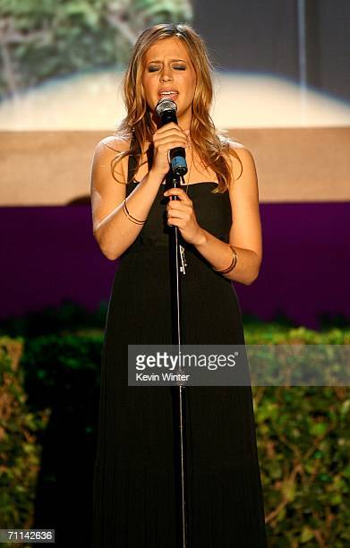 Singer Jessi Collins performs at the Women in Film presentation of the 2006 Crystal and Lucy Awards at the Century Plaza Hotel on June 6 2006 in...