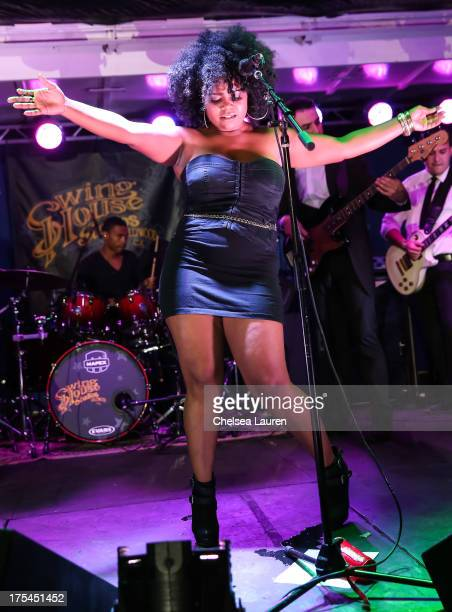 Singer Jessica Childress performs backstage on day 1 of the Sunset Strip Music Festival on August 2 2013 in West Hollywood California