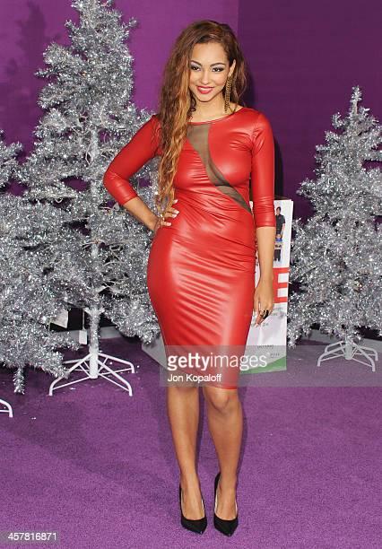 Singer Jessica Jarrell arrives at the Los Angeles Premiere 'Justin Bieber's Believe' at Regal Cinemas LA Live on December 18 2013 in Los Angeles...