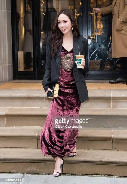 Singer Jessica Jung is seen leaving Ralph Lauren Spring/Summer 2019 fashion show during New York Fashion Week at Ralph's Coffee at Ralph Lauren...