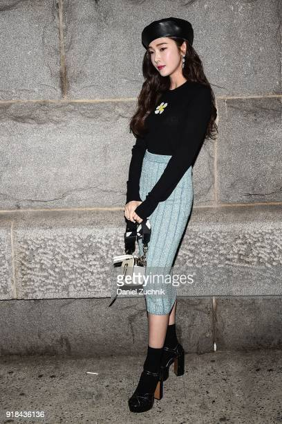 Singer Jessica Jung is seen wearing outside the Marc Jacobs show during New York Fashion Week Women's A/W 2018 on February 14 2018 in New York City