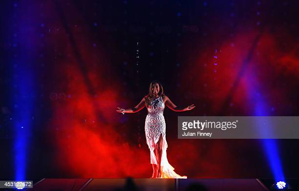 Singer Jessica Mauboy performs during the Closing Ceremony for the Glasgow 2014 Commonwealth Games at Hampden Park on August 3 2014 in Glasgow United...