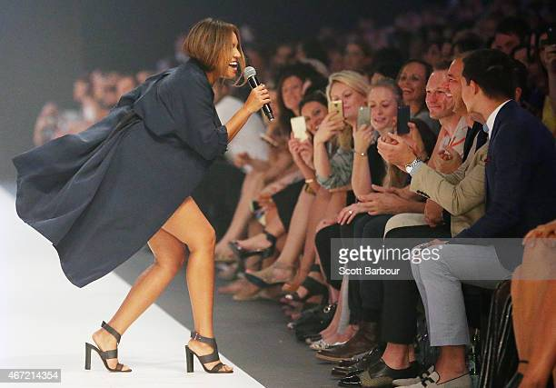 Singer Jessica Mauboy performs on the runway at the Target show during Melbourne Fashion Festival on March 22 2015 in Melbourne Australia