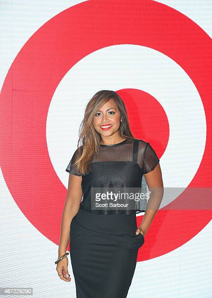 Singer Jessica Mauboy poses on the runway at the Target show during Melbourne Fashion Festival on March 22 2015 in Melbourne Australia