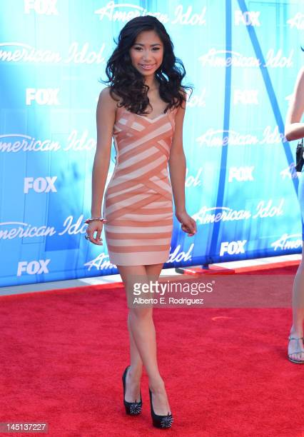 Singer Jessica Sanchez arrives at Fox's American Idol 2012 Finale Results Show at Nokia Theatre LA Live on May 23 2012 in Los Angeles California