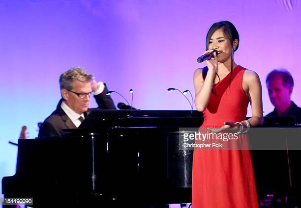 Singer Jessica Sanchez performs onstage during the 26th Anniversary Carousel Of Hope Ball presented by MercedesBenz at The Beverly Hilton Hotel on...