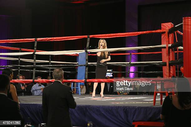 Singer Jessica Sanchez performs the National Anthem during the B Riley Co And Sugar Ray Leonard Foundation's 6th Annual Big Fighters Big Cause...